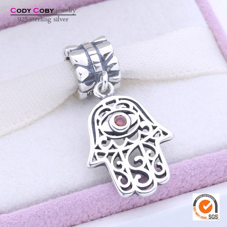 Hamsa Hand Charms Fits Original Pandora Bracelet 925 Sterling Silver Evil Eye Floating Charm Beads With Red Crystal DIY Jewelry www.bernysjewels.com #bernysjewels #jewels #jewelry #nice #bags