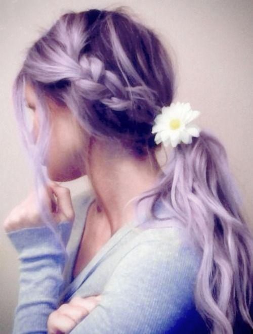 wow: Low Ponytail, Summer Hair, Long Hair, Summerhair, Hair Style, Side Braids, Ponies Tail, Flower, Braids Hair