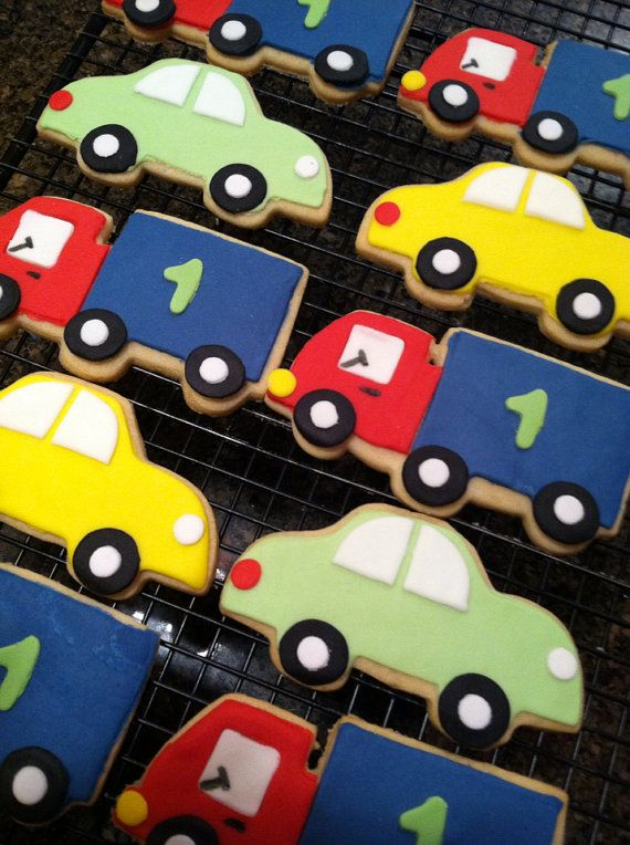 """Cars and truck sugar cookies are a great theme for a special little boys birthday party. These 12 cookies are approximately 4"""" in length and care drive to drive on over to your next party. Cars and Trucks Sugar Cookies  Car Cookies  by CookieTrayCookies, $24.00"""