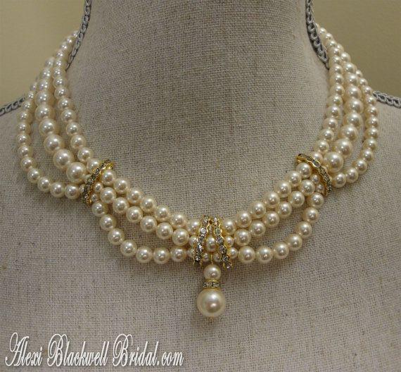 Victorian Pearl Wedding Necklace Set - Swarovski Pearls and Rhinestone in Gold or Silver by AlexiBlackwellBridal, $89.00