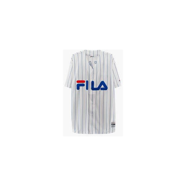 XXXY x FILA Kings Baseball Shirt What Drops Now ❤ liked on Polyvore featuring tops, striped top, baseball shirts, striped baseball shirt, striped baseball jersey and baseball jerseys