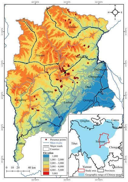 Predicting suitable habitat of the Chinese monal (Lophophorus lhuysii) using ecological niche modeling in the Qionglai Mountains, China [PeerJ]