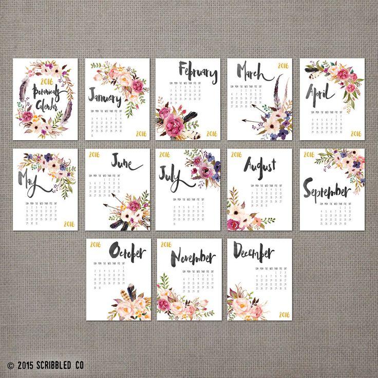 2016 calendario de pared única con flores acuarela.  ¿En busca de un calendario único? No busques más! Tenemos el calendario de pared perfecta de 11