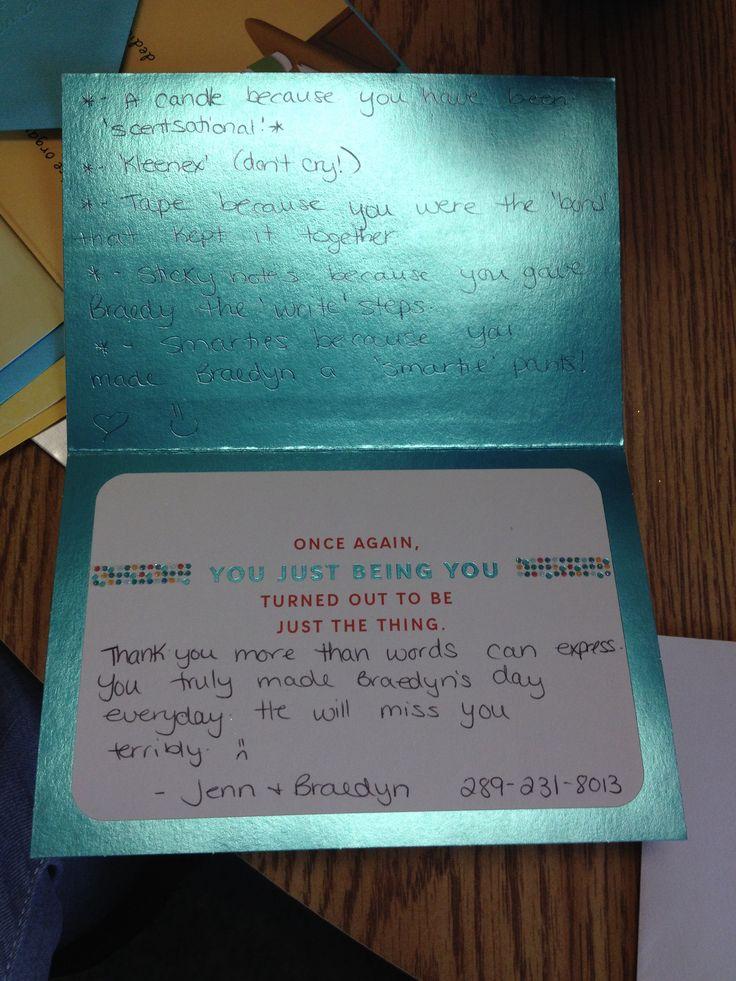 Goodbye card/trinkets for my kiddos daycare teacher ...