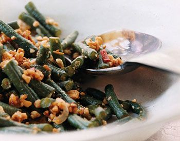 Spicy Stir-Fried Chinese Long Beans with Peanuts Recipe at Epicurious.com