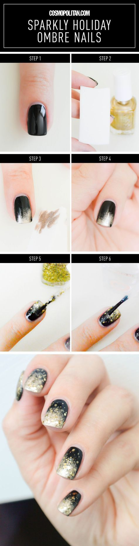 "Sparkly New Year's Eve Ombré Nails - Nail Tutorial   1. Basecoat, such as Essie Millionails 2. Black nail polish, such as Essie ""Licorice"" 3. Gold nail polish, such as Essie ""Good as Gold"" 4. Glitter polish, such as Essie's ""Rock at the Top"" 5. Makeup sponge 6. Topcoat, such as Essie Good to Go"
