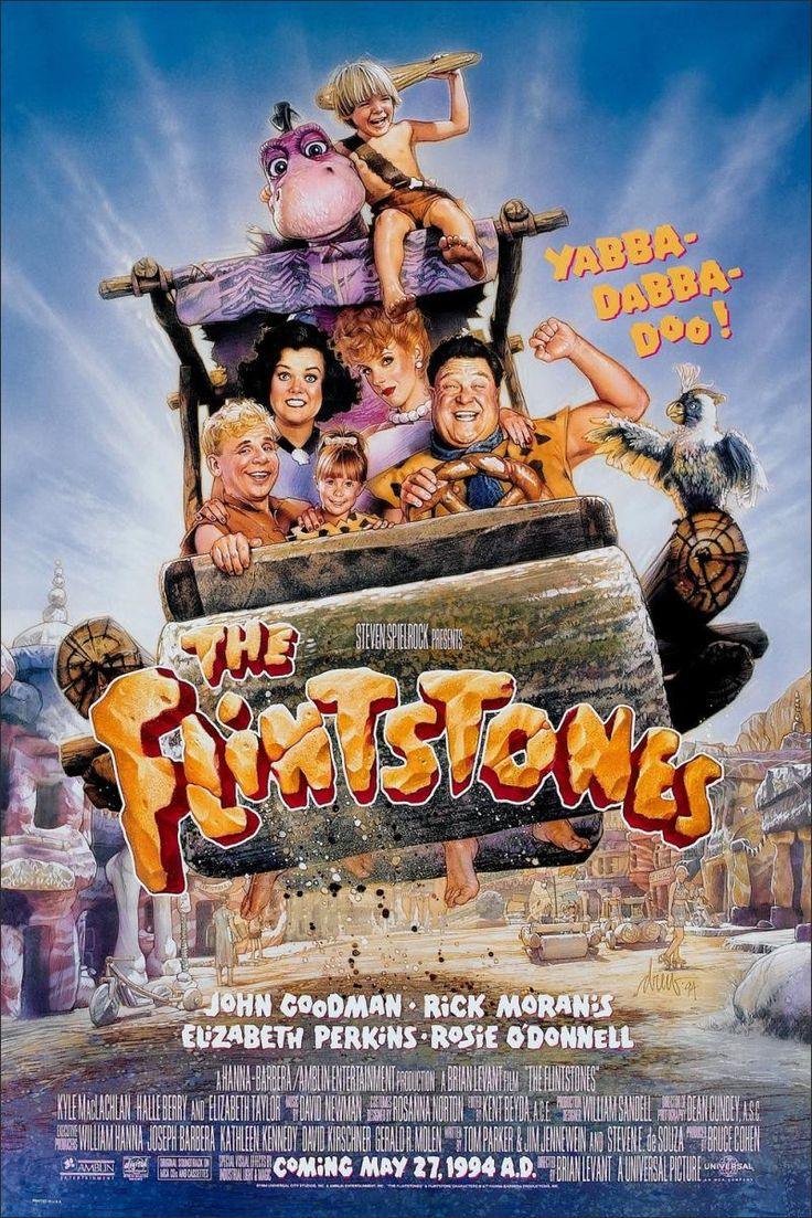 THE FLINTSTONES (1994) - John Goodman - Rick Moranis - Elizabeth Perkins - Rosie O'Donnell - A Hanna-Barbera & Amblin Entertainment Production - Directed by Brian Levant - Movie Poster