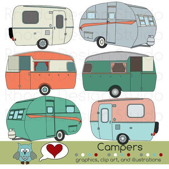Vintage Campers Digital Clip Art Retro Camp by RhodaDesignStudio, $5.95