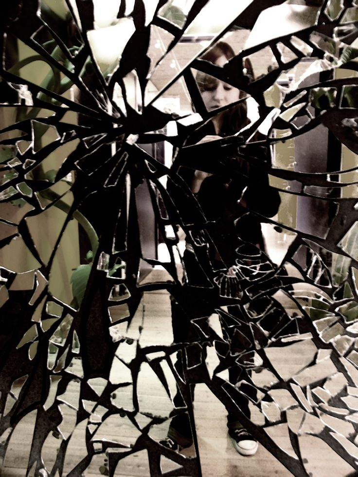 Broken mirror collage....did this on my college dorm door at UMass! Except, I added colored as lights.