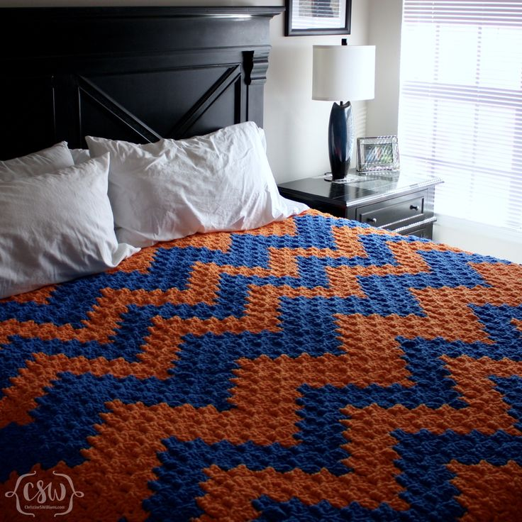 Free Crochet Pattern - Chunky C2C Chevron Blanket - great beginner pattern using soft and snuggly Bernat Blanket Yarn - video and photo tutorials