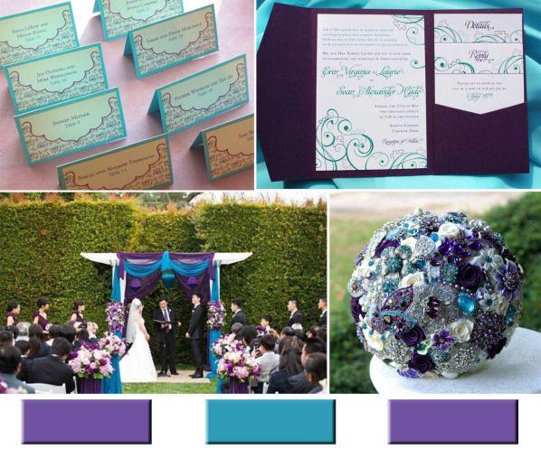 purple and teal wedding invitations UK