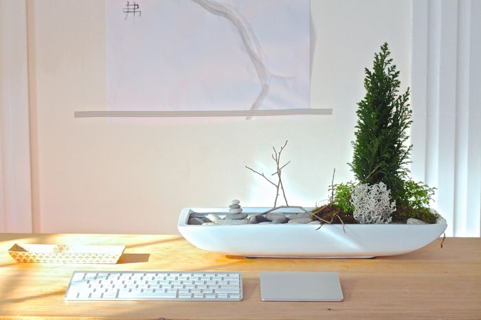 DIY: A Desktop Zen Garden  |  Want to add serenity to your workspace? Creating a calming desktop garden is not as impossible as you might think. (Even if you occupy a windowless cubicle.)