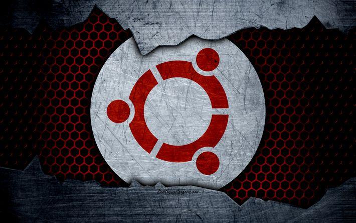 Herunterladen hintergrundbild 4k, ubuntu, creative, linux, art, metall, logo, os