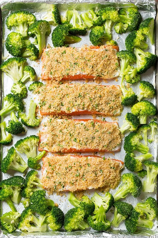 Sheet Pan Meals: Parmesan Crusted Salmon with Roasted Broccoli – There's no harm in adding a little cheese as long as you don't go overboard and along with some breadcrumbs it leaves a great crunch! Swap out the processed mayo and add some greek yogurt to get some healthy fat, you won't be disappointed!  Get the recipe from Cooking Classy.