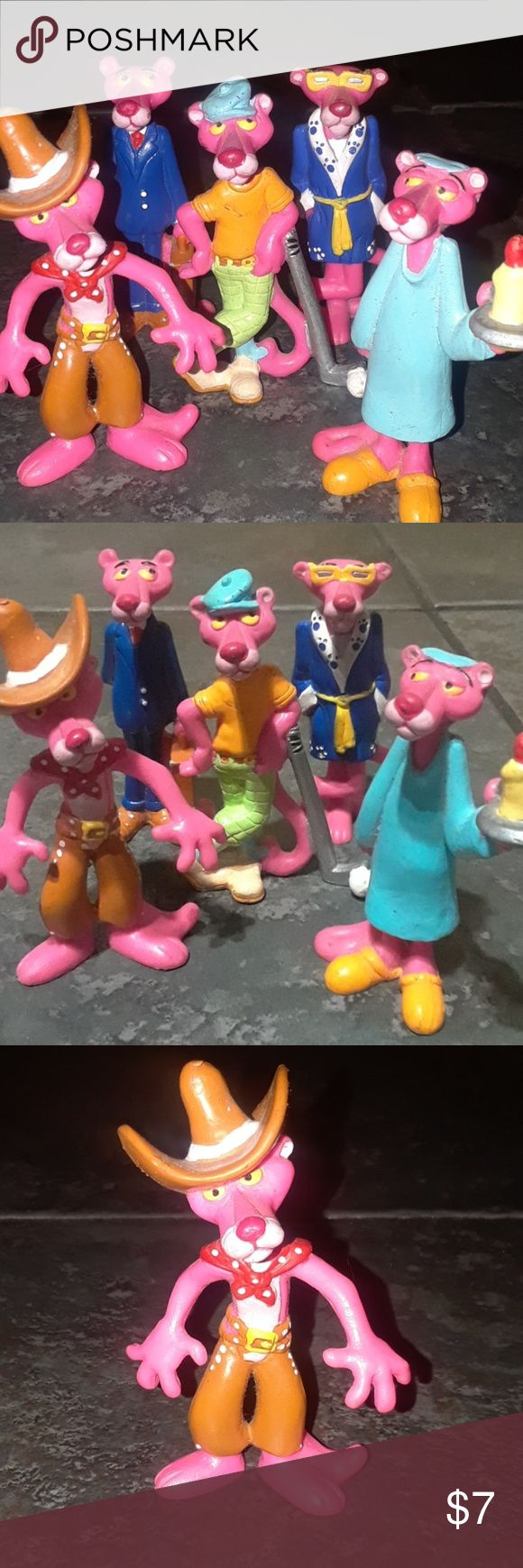 VINTAGE 1989 Pink Panther Figurines Toys Dolls 80s #1 Business #2 Golf #3 Cowboy #4 Robe & glasses #5 Nightgown & Candle  Vintage Pink Panther Figurines Marked 1989 on the bottom. Some show wear (see pics) Otherwise great condition!   These have only been stored through the years, never played with.  Check my other listings to bundle more 80's collectibles! Bundle and save on shipping!  One figure for $7 All five figures $25 (comes out yo $5 each and saves you on shipping)  ** Contact me…