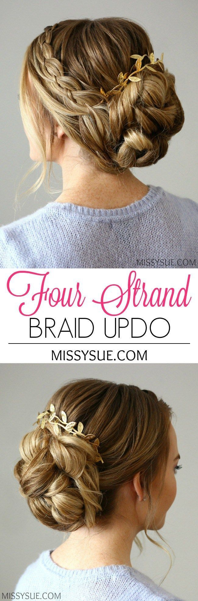 This four strand braid updo is elegant and formal; a perfect hairstyle for an ev