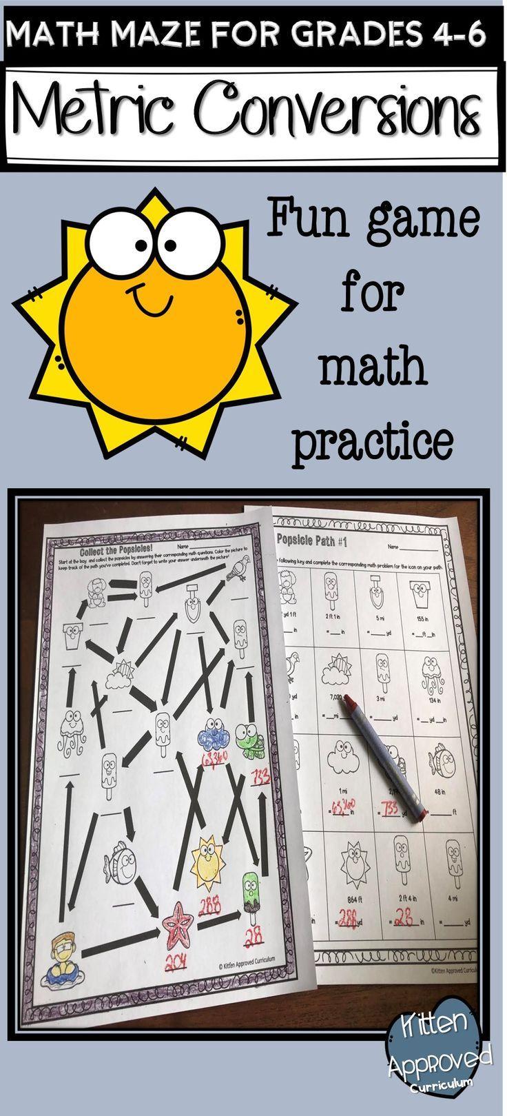 Metric Conversion Activities Customary Math Mazes 5th