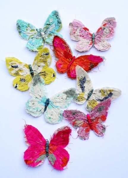 Fabric Butterflies - would make beautiful broaches or earrings!