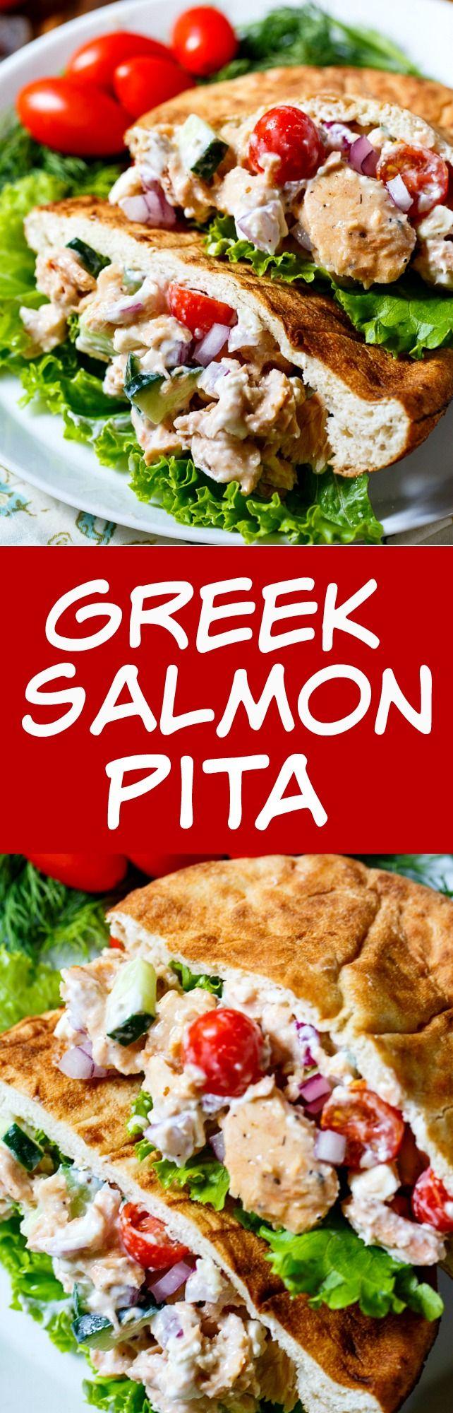 Greek Salmon Pita Sandwich with feta cheese, Greek yogurt, cucumbers, and tomatoes.