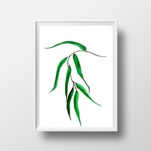 Gum tree leaf print single leafl wall art green by Sweepinggirl