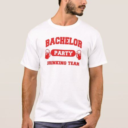 Bachelor Party Drinking Team Red letters T-Shirt - tap to personalize and get yours