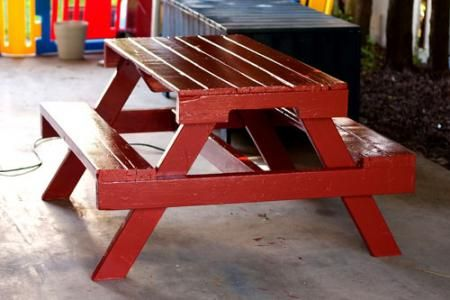 PICNIC TABLE:  This colorful item is a picnic table and it was made from a pallet. As you can see, it can an interesting structure that also includes two benches. You'll have to cut the pallet in several pieces and probably make some measurements first. Since it' a picnic table, it should be fun so opt for a bright color.{found on ana-white}