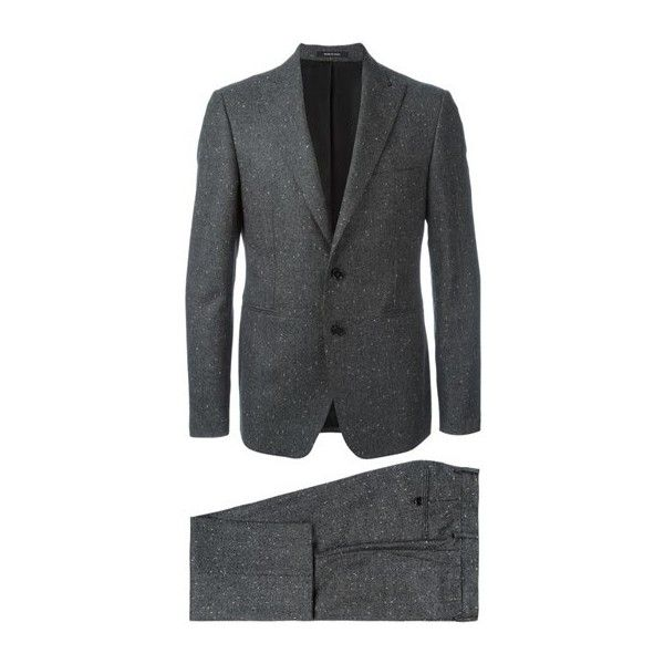 TAGLIATORE Peaked Lapels Formal Suit (€670) ❤ liked on Polyvore featuring men's fashion, men's clothing, men's suits, grey, mens gray suit, mens peak lapel suits, mens formal suits and mens grey suit