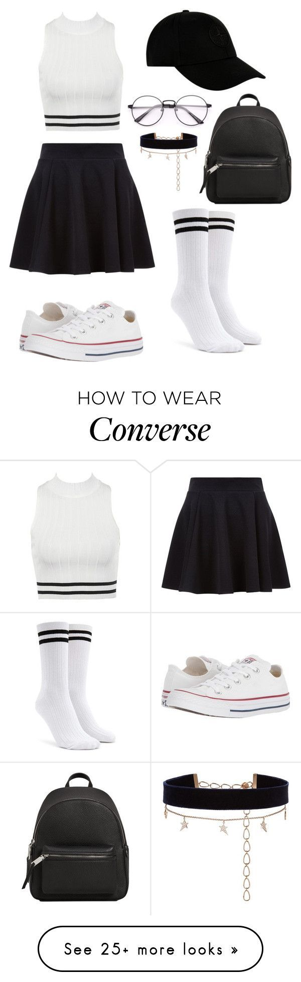 """""""SPORTY ELEGANT OUTFIT"""" by greta1101 on Polyvore featuring Forever 21, STONE ISLAND, Converse, MANGO and Diane Kordas #polyvoreoutfits"""