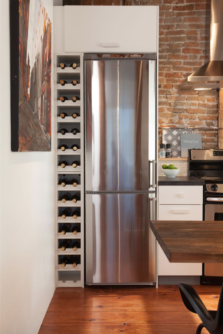 A Narrow Fridge Means More Space For Wine Just Sayin Kitchen Storage Hacks Kitchen Narrow
