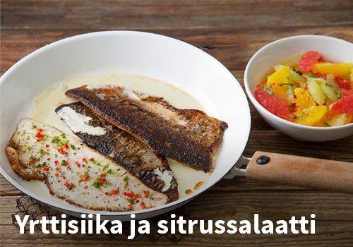 Yrttisiika ja sitrussalaatti. Resepti: Valio #kauppahalli24 #resepti #siika #yrttisiiki #kalaruoka #verkkoruokakauppa