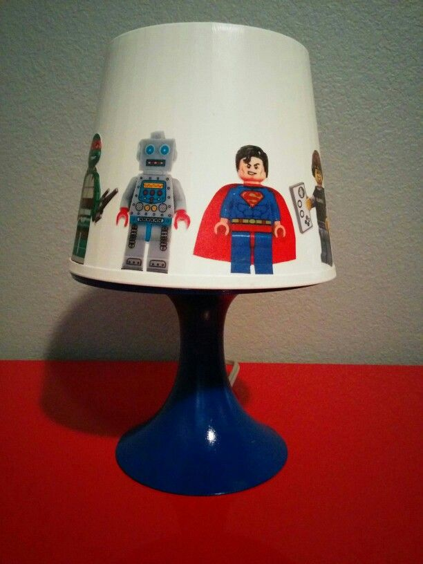 #Lego Lamp #Lego #Decor Lego Lamp paint base of Ikea lamp add mini figure stickers to shade.