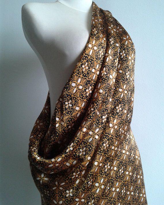 Gold Silk Batik handprinted batik silk by JavaniceHandyCraft