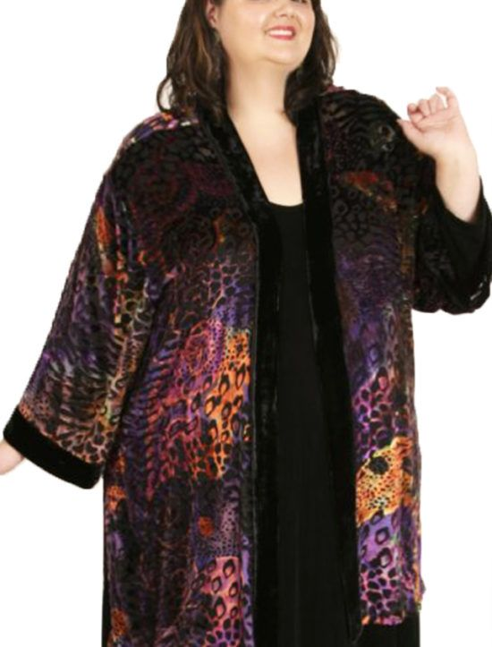 07180f3e80d Plus Size Designer Kimono Jacket Silk Velvet Burnout Phosphorescent  Undersea xoPeg SHOP NOW: Unique jackets