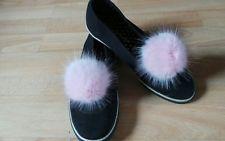 """Pair of Shoe Clips Pink Mink Faux Fur Pom Pom shoe clips 10 cm / 4"""""""