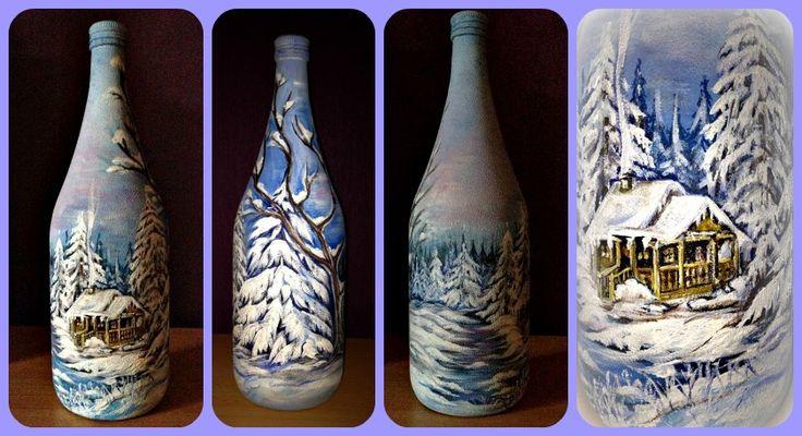 winter deko flasche bild auf glas akrylfarben handarbeit deko bottles hand painted gifts. Black Bedroom Furniture Sets. Home Design Ideas