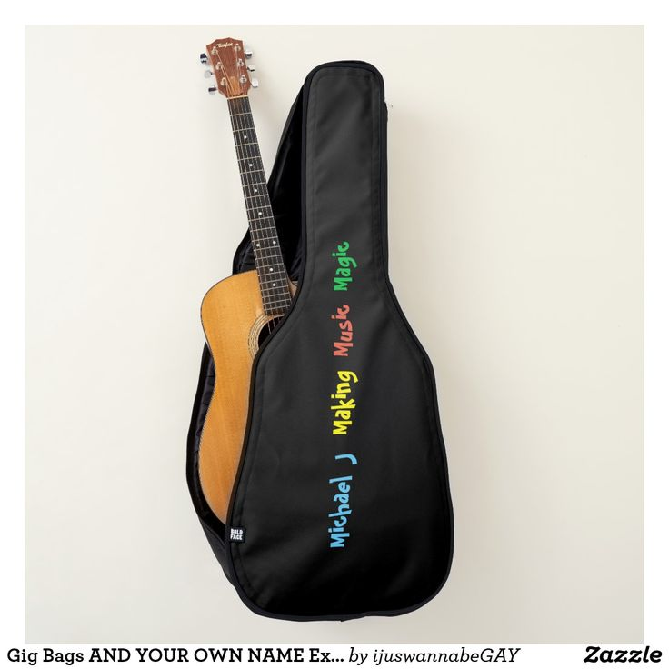 Gig Bags AND YOUR OWN NAME are Extra Strong Guitar Bags. Gig Bags WITH YOUR OWN NAME and Making Music Magic, printed onto the Acoustic/Electronic Guitar Gig Bags in colorful colors. Black gig bag, with your name printed onto the Guitar Gig Bag., using quick easy name changer template. Guitar Bag, has lots of pockets and space for all your stuff. Fits most standard size acoustic/electronic guitars Extra-rugged polyester shell, dense inner padding on all sides, Wide padded backpack straps…