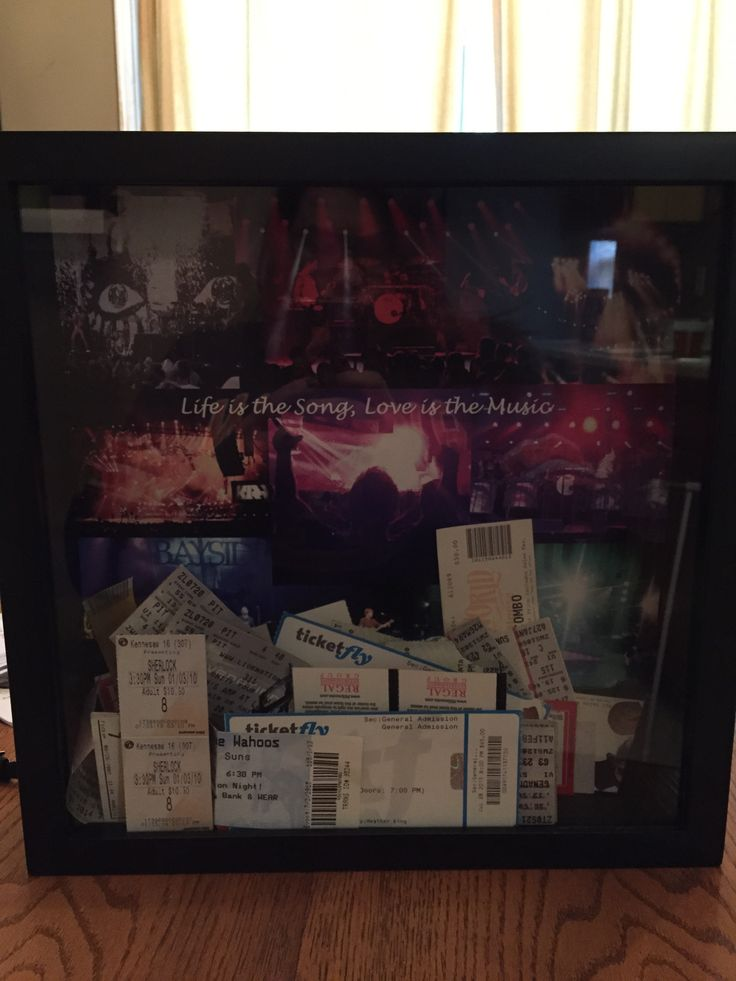 Concert ticket shadow box! I never know what to do with out tickets after the show, and I refuse to throw them away. Why not display them!! #diy #shadowbox #ticketstorage here is my finished product. Shadow box from Michael's, made a 12x12 collage of pictures from shows we went to as the back drop. Hope the hubby loves it!