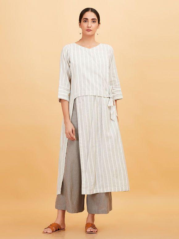 ca82958a6 Off White Khadi Kurta with Grey Palazzo - Set of 2 | sewing in 2019 ...