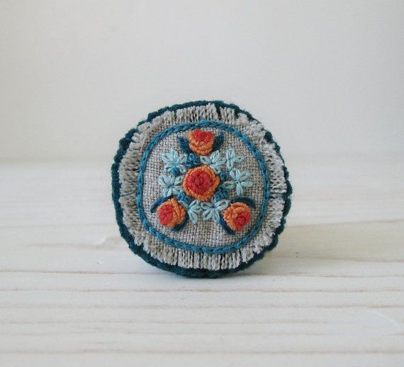 Orange and Teal Bouquet Hand Embroidered Brooch by Sidereal