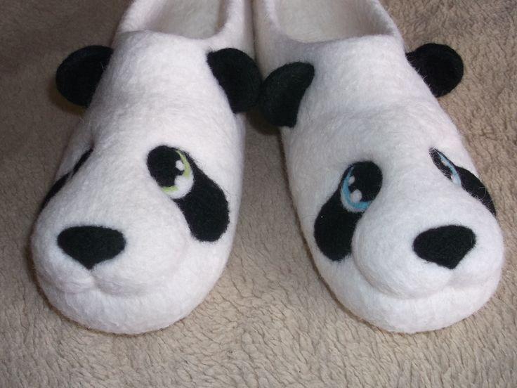 Валяные тапочки Панды.