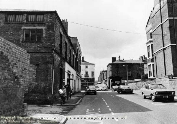 Fulforth Street, Nottingham, 1978 Looking west from Huntingdon Street; centre is Mansfield Road; Peel Street is centre rear.