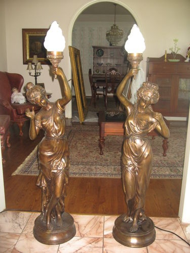 Vintage French Art Nouveau Nude Lady Figural Bronze Newel Post Lamp Pair  58    eBay29 best vintage figural lamps images on Pinterest   Antique lamps  . Antique French Lamps On Ebay. Home Design Ideas