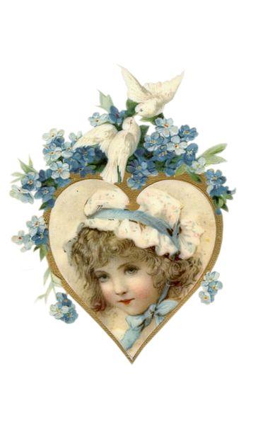 Illustration vintage d'une fillette dans un coeur ivoire, avec des colombes et des fleurs bleues