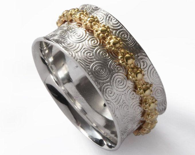 Zilveren brass spinner ring met twee tonen ring, meditatie ring, organische band, Floral spinner, zorgen Hippie zilveren ring, ring, spiraal breed ring
