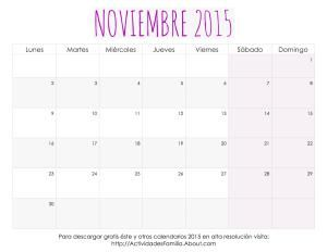 Calendarios de Noviembre 2015 para imprimir, personalizar y organizar tu mes: Calendario con dise