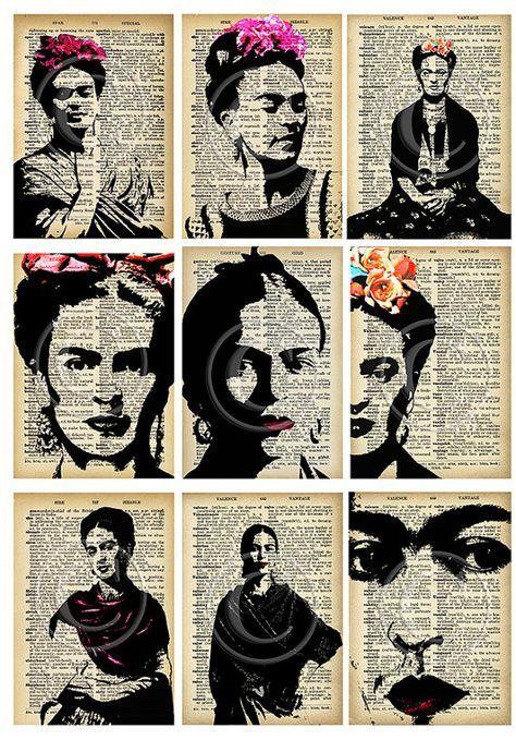 ATCs de Frida Kahlo... A4 digital descargar collage por Lilysart1