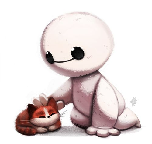 Big Hero 6-Chibi Baymax and the hairybaby cat. My heart.....just can't take it.