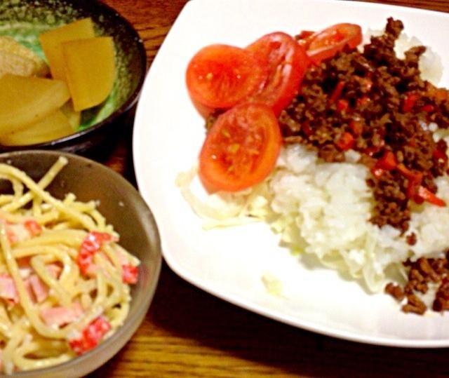 リクエストがあれば作り方載せます♡ 高校生の私でも作れる簡単さです*\(^o^)/* - 46件のもぐもぐ - タコライス、大根の煮物、スパゲティサラダ by mamamamamay91
