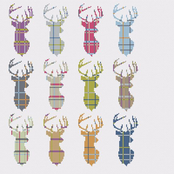 Check out this item in my Etsy shop https://www.etsy.com/uk/listing/272031404/tartan-stag-multi-cross-stitch-pattern