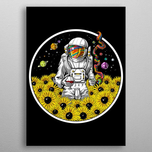 Psychedelic Astronaut Canvas Wall Art Psychedelic Art Print Poster